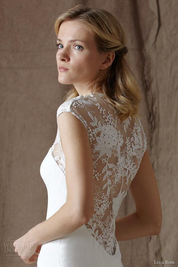 lela rose bridal spring 2014 the point cap sleeve wedding dress illusion back detail close up