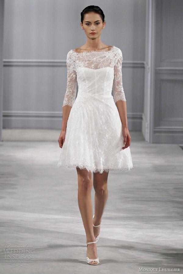 Monique lhuillier spring 2014 wedding dresses wedding for Short spring wedding dresses