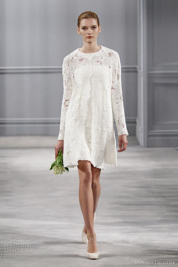 Monique Lhuillier Short Wedding Dresses Bridal 2017 An Cape