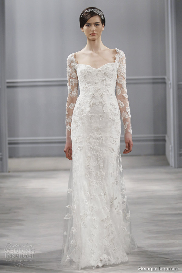Gallery For Monique Lhuillier Lace Wedding Dress Long Sleeve