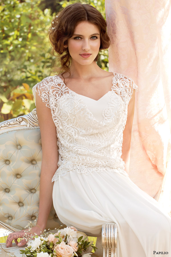 papilio 2014 bridal noelia wedding dress guipure bodice close up