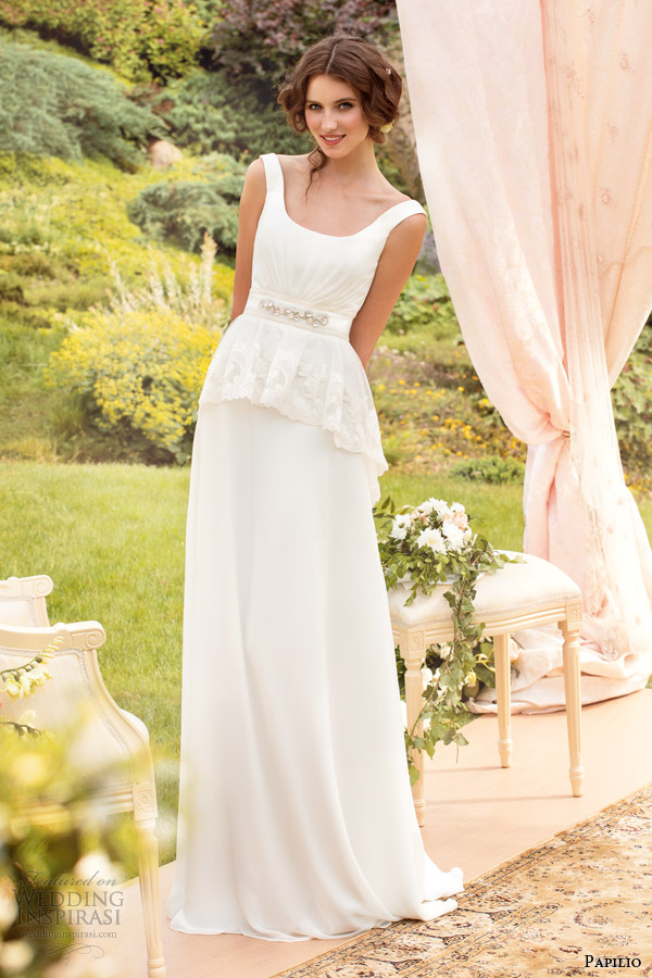 papilio 2014 tina wedding dress peplum straps