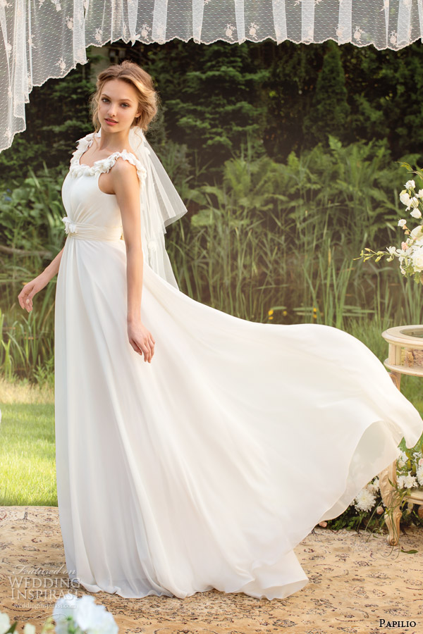 papilio bridal 2014 wedding dress style 0819 floral straps