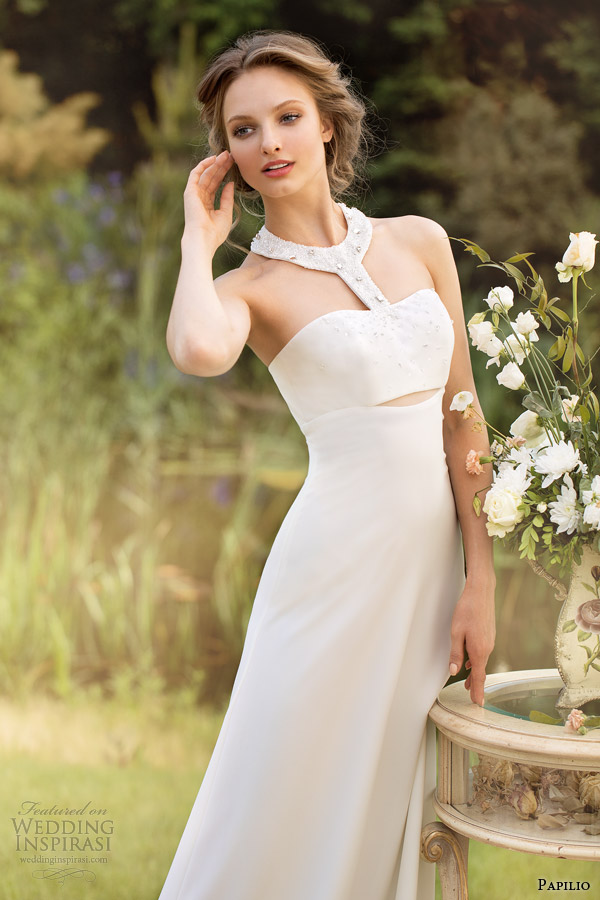 papilio bridal 2014 wedding dresses enrica racer back halter neck gown