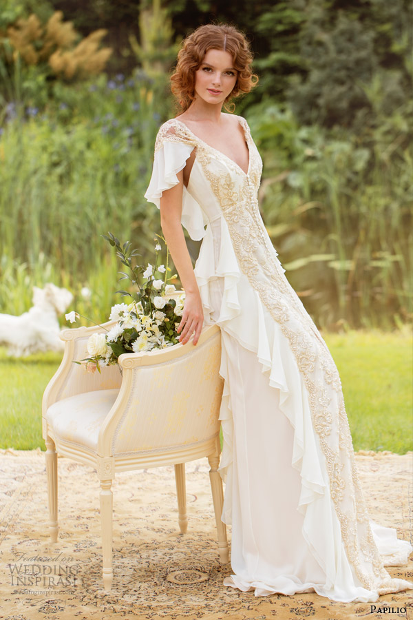 Papilio 2014 wedding dresses sole mio bridal collection for Flutter sleeve wedding dress
