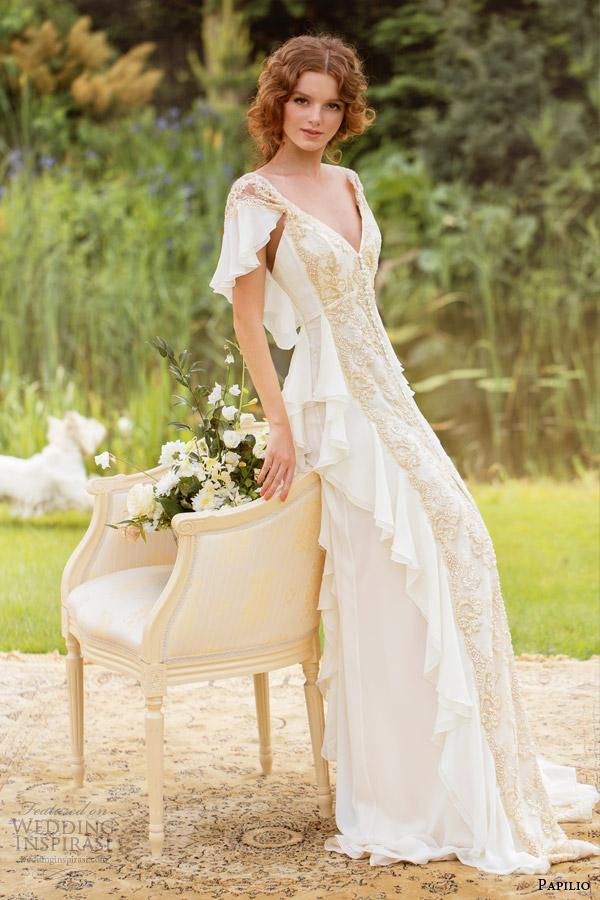 papilio wedding dresses 2014 carmina gown flutter sleeves gold