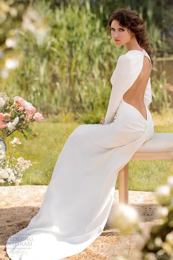 papilio wedding dresses 2014 donatella open back long sleeve gown