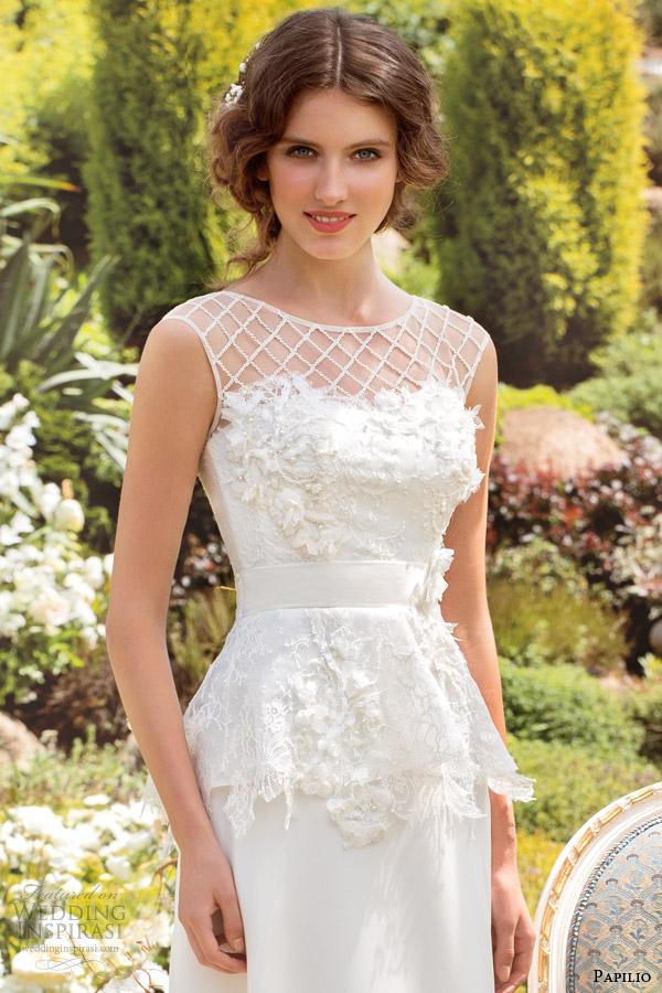 papilio wedding dresses 2014 filomena illusion cap sleeve peplum close up lattice