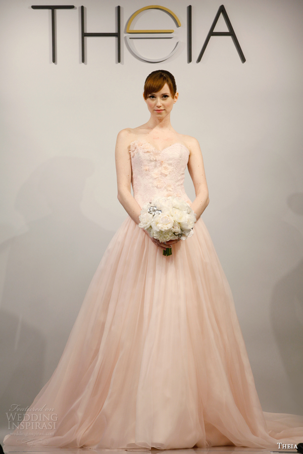 theia bridal 2014 strapless pink wedding dress style 890088