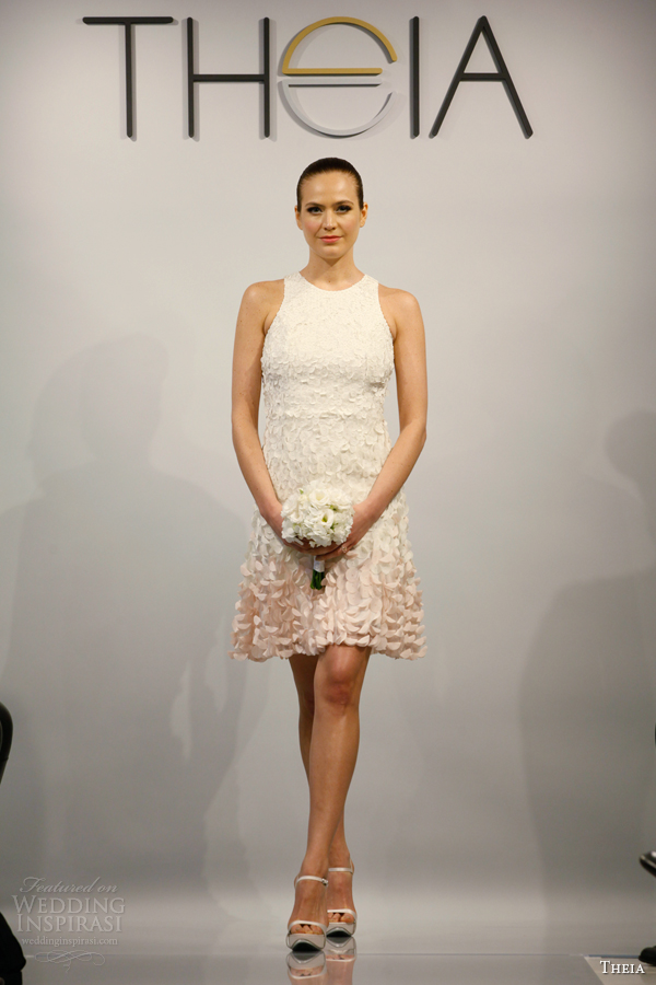 theia bridal spring 2014 short ombre pink sleeveless wedding dress style 890071