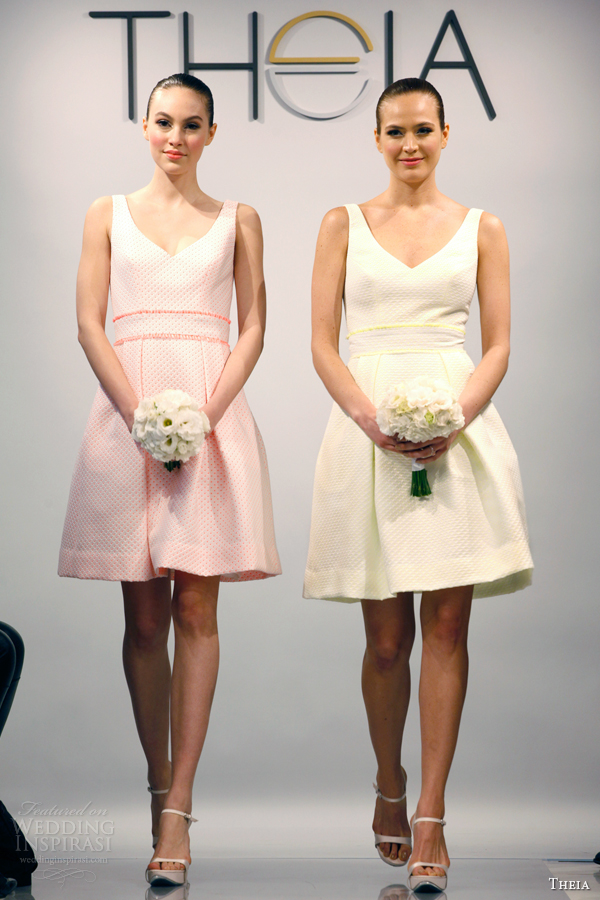 theia bridal spring 2014 white couture bridesmaids dress pink yellow