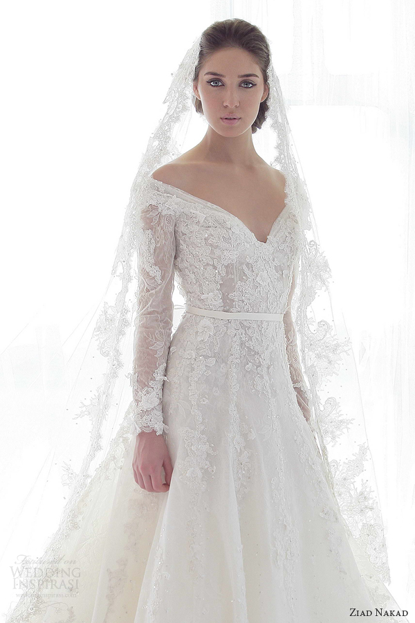 ziad nakad 2013 wedding dress long sleeves close up bodice