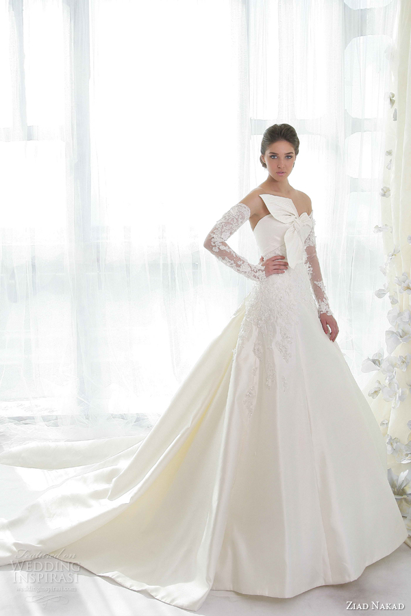 ziad nakad bridal 2013 2014 strapless wedding dress lace sleeves