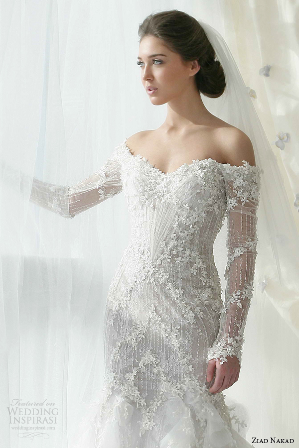 ziad nakad bridal 2013 wedding dress off shoulder long sleeves close up bodice