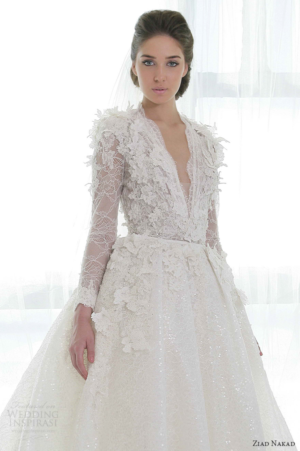 ziad nakad wedding dresses 2013 ball gown long sleeves close up bodice