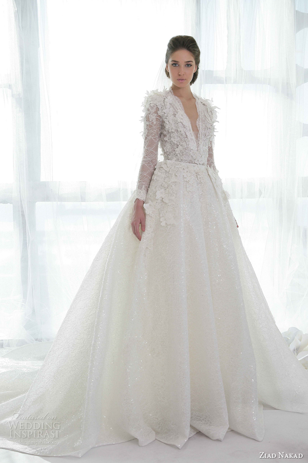 ziad nakad wedding dresses 2013 ball gown long sleeves