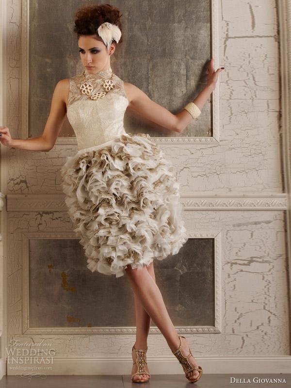 Della Giovanna Fall 2014 Edgy Short Wedding Dress Halter Neck