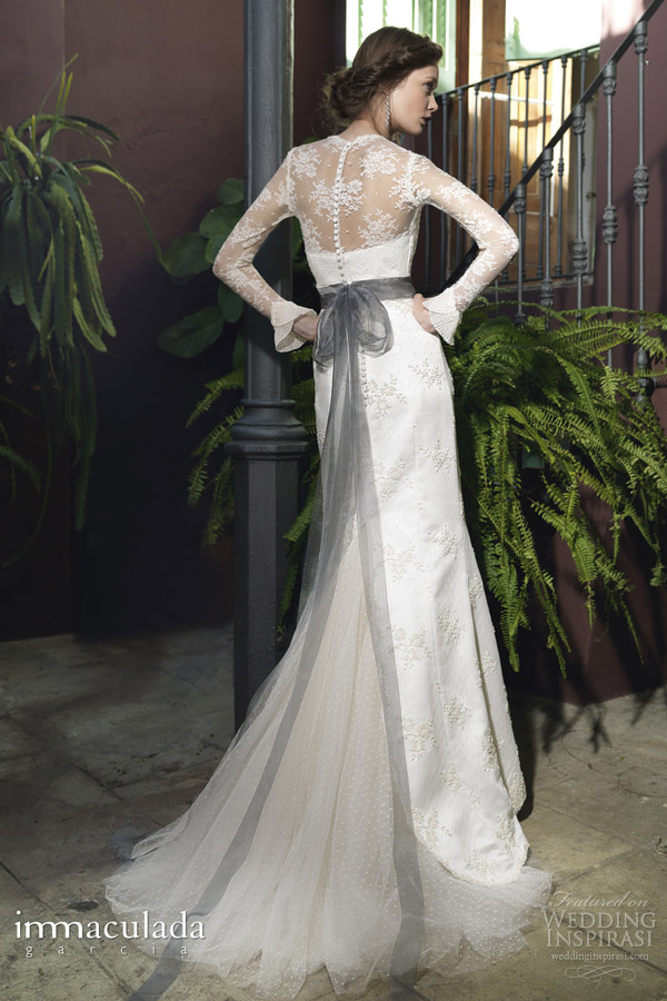 inmaculada garcia 2014 atem long sleeve wedding dress back train