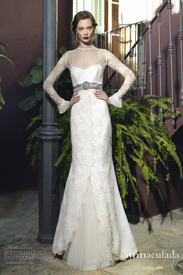 inmaculada garcia 2014 atem long sleeve wedding dress