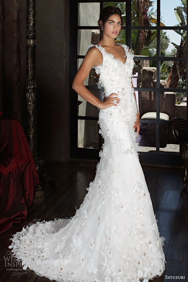intuzuri 2014 bridal begonia wedding dress flowers