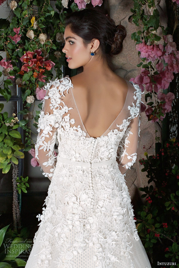 intuzuri 2014 wedding dresses bijou long illusion sleeve gown back detail