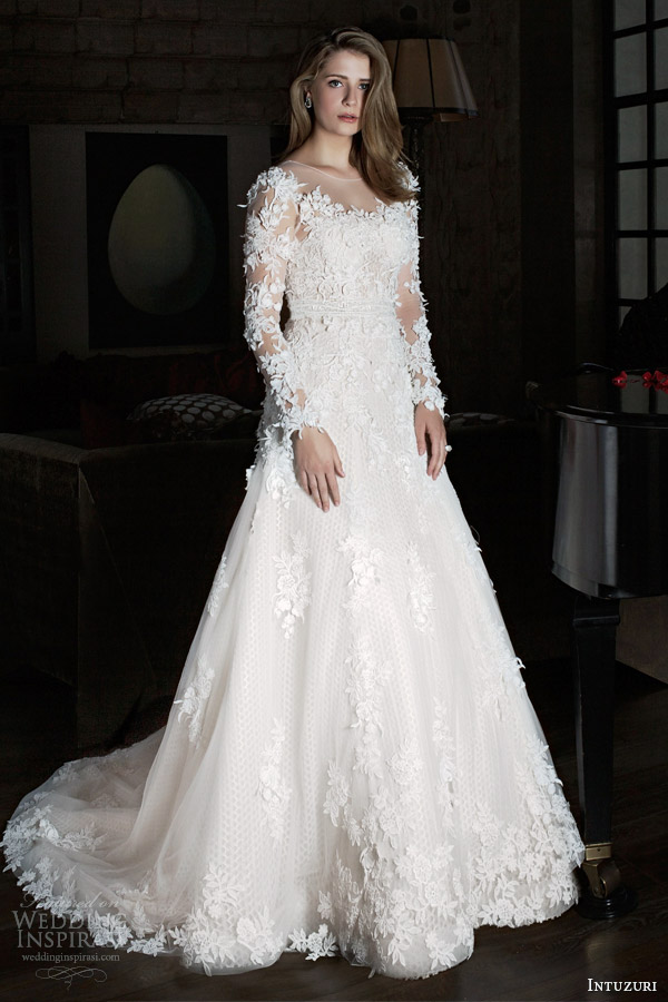 intuzuri 2014 wedding dresses bijou long illusion sleeve gown