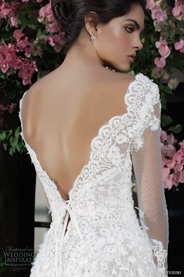 intuzuri wedding dresses 2014 bridal berkheya long sleeve gown back detail