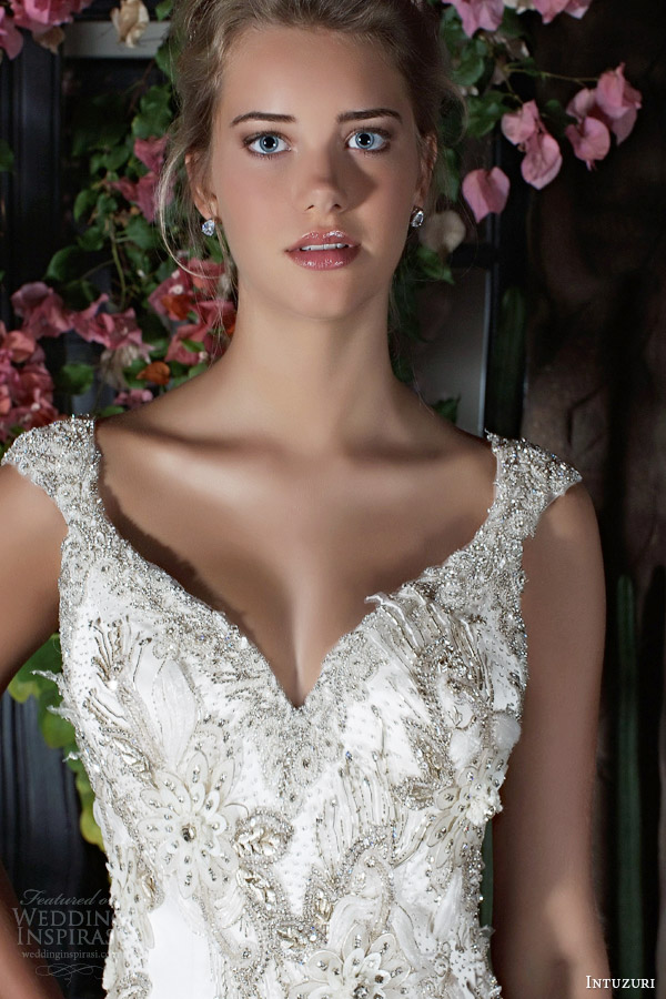 intuzuri wedding dresses 2014 bridal blathnat cap sleeve beaded gown