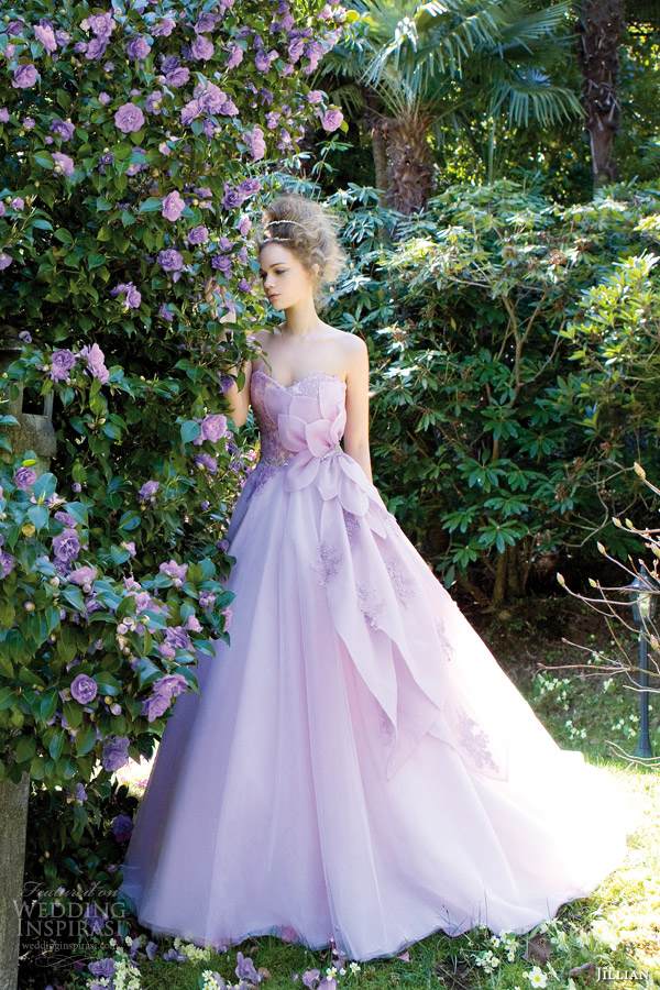 azalea strapless color wedding dress purple lilac lavender style 95814