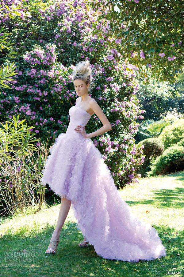 high low color wedding dress purple lilac lavender style 95823