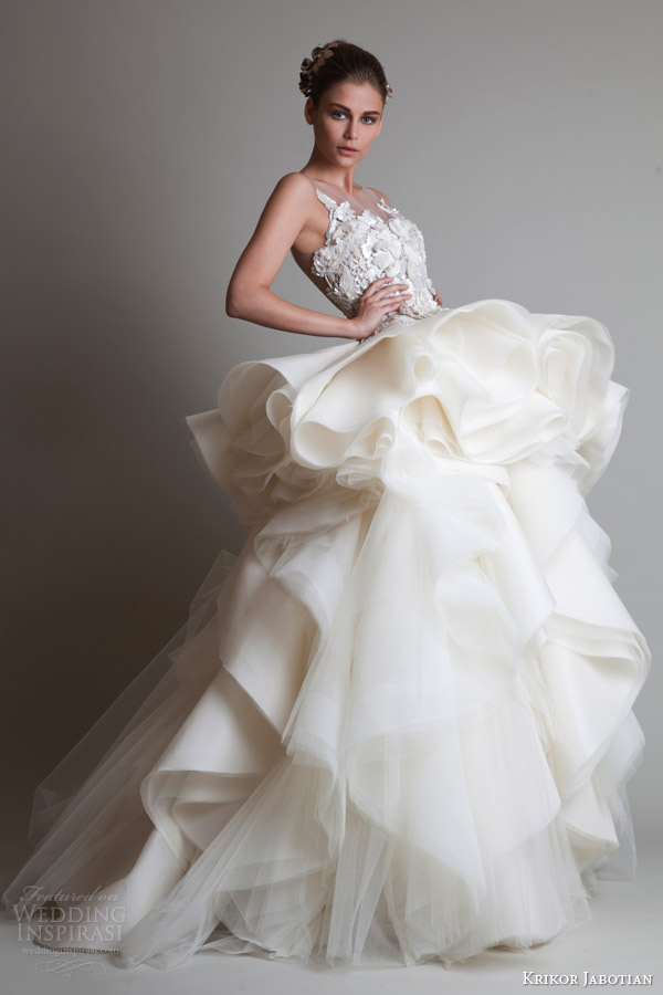 krikor jabotian couture 2014 sleeveless wedding dress