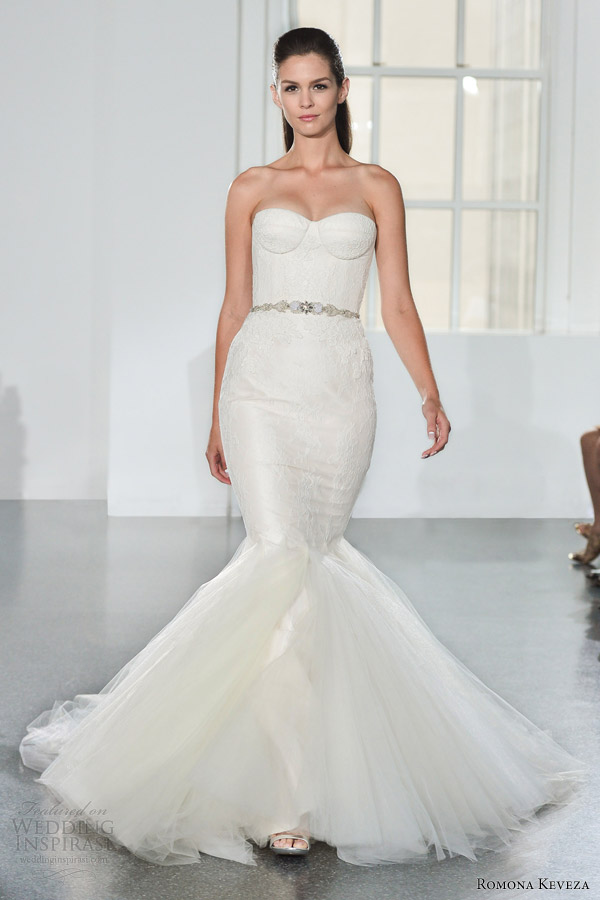 romona keveza bridal fall 2014 strapless mermaid wedding dress style rk578