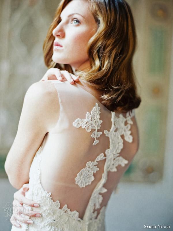 sareh nouri 2014 bridal skylar illusion cap sleeve wedding dress back detail close up