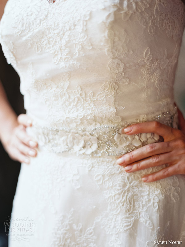 sareh nouri bridal 2014 amelie strapless wedding dress belt detail close up