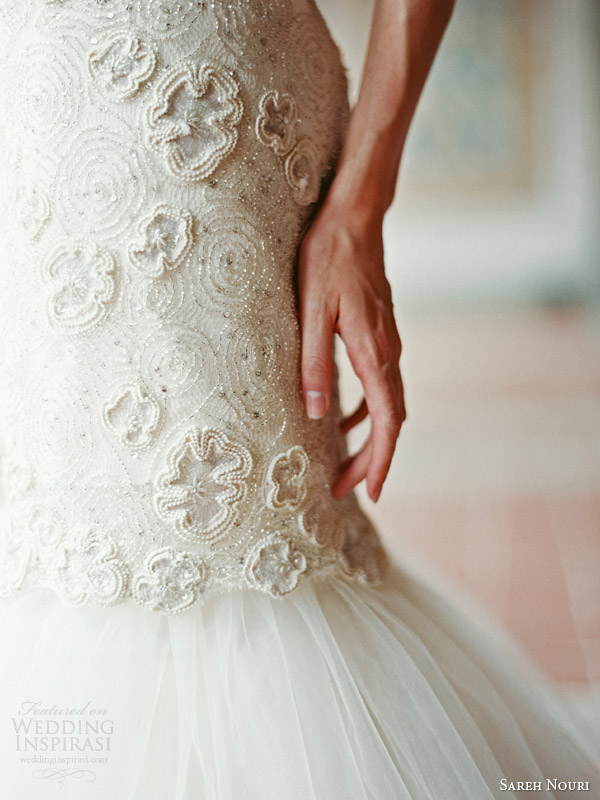 sareh nouri bridal fall 2014 delphine strapless wedding dress detail bodice