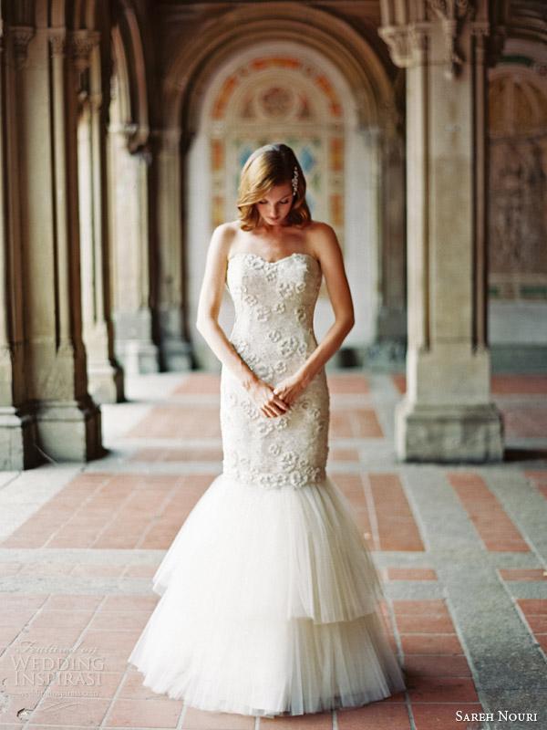 sareh nouri bridal fall 2014 delphine strapless wedding dress