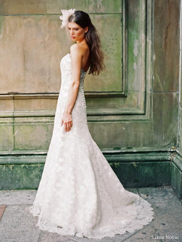 sareh nouri bridal fall 2014 emerald strapless wedding dress color side back train view