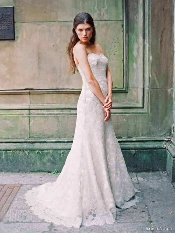 sareh nouri bridal fall 2014 emerald strapless wedding dress color