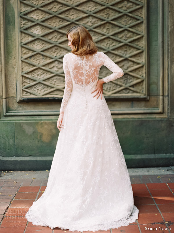 sareh nouri bridal fall 2014 queen elizabeth long sleeve lace wedding dress back
