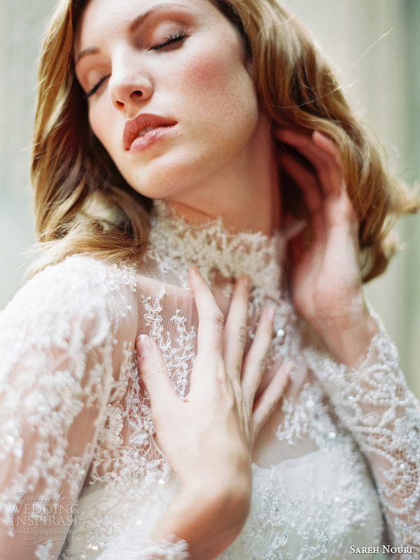 sareh nouri bridal fall 2014 queen elizabeth long sleeve lace wedding dress close up bodice
