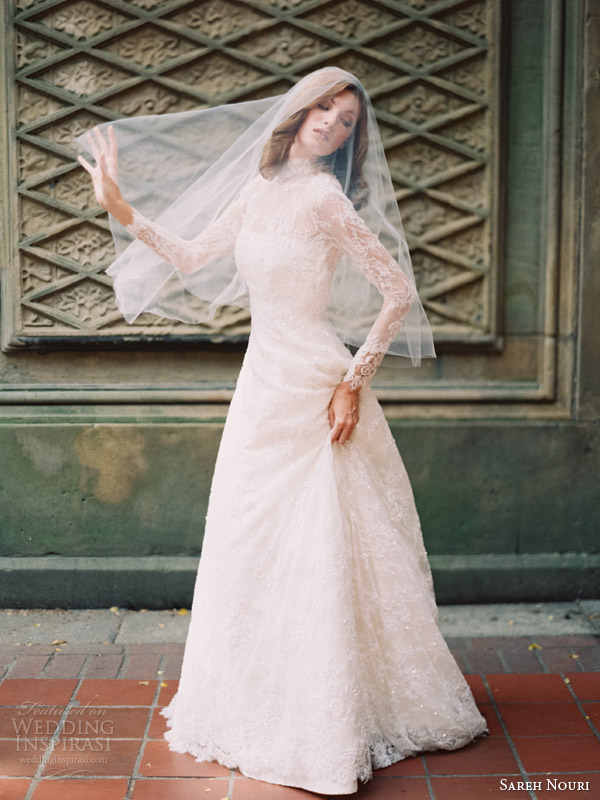 sareh nouri bridal fall 2014 queen elizabeth long sleeve lace wedding dress