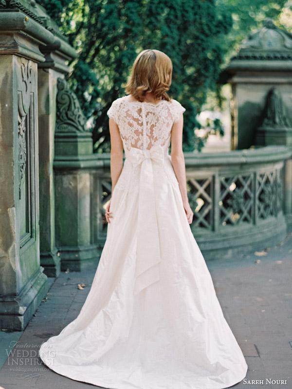 sareh nouri bridal fall 2014 ramsey lace cap sleeve wedding dress illusion back detail