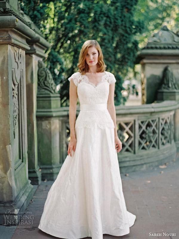 sareh nouri bridal fall 2014 ramsey lace cap sleeve wedding dress