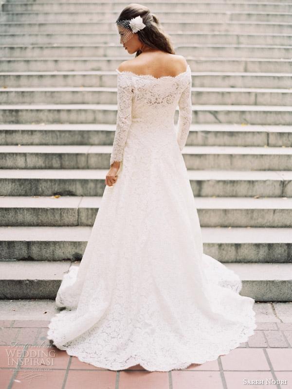 sareh nouri fall 2014 bridal halina long sleeve wedding dress bridal coat back view