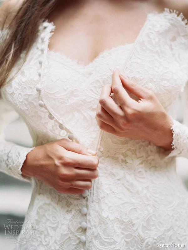 sareh nouri fall 2014 bridal halina long sleeve wedding dress bridal coat close up buttons