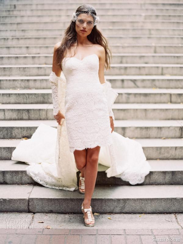 sareh nouri fall 2014 bridal halina long sleeve wedding dress bridal coat short lace