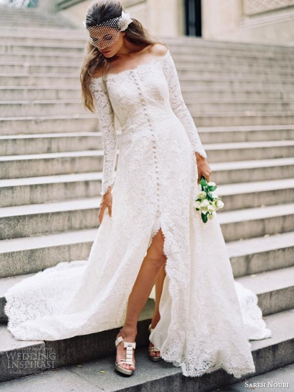 sareh nouri fall 2014 bridal halina long sleeve wedding dress bridal coat