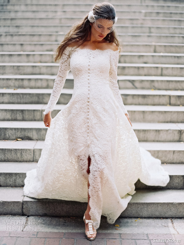 sareh nouri fall 2014 bridal halina long sleeve wedding gown bridal coat short lace dress