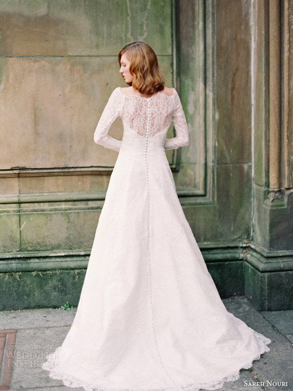 sareh nouri fall 2014 bridal josephine long sleeve wedding dress back