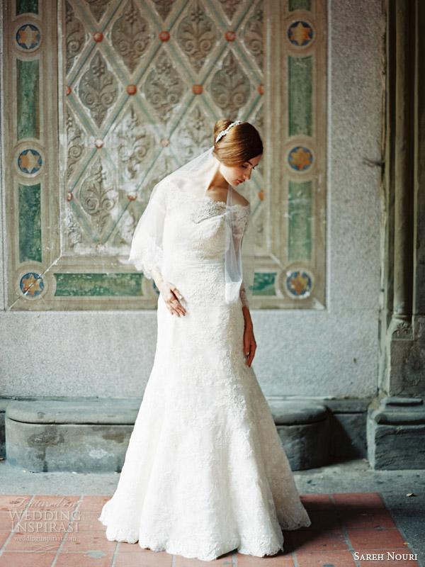 sareh nouri wedding dresses fall 2014 bridal clara off shoulder gown front view